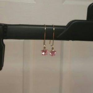 Jewelry - Dangling Heart Drop Pink Stone Earrings