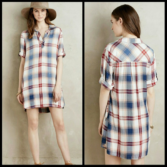 bb1cb585409 NEW Cloth   Stone Plaid Shirt Dress Tunic
