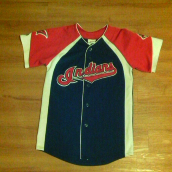 competitive price f10ee 04a6e Retro Cleveland Indians sewn Patches Jersey Shirt