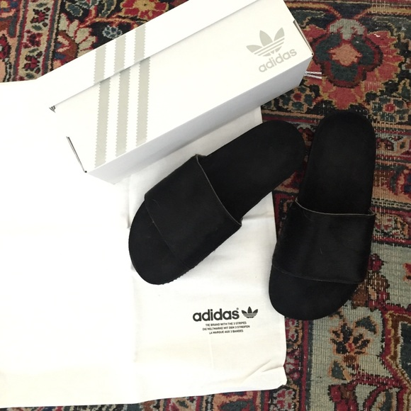 48543a515bbb Adidas Shoes - Adidas adilette slides black suede ponyhair