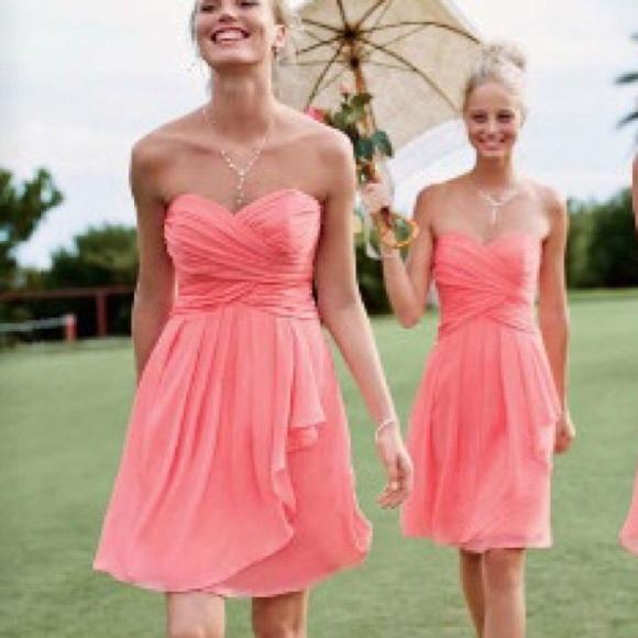 2976c00c1ade David's Bridal Dresses & Skirts - DB Short Crinkle Chiffon Dress with Front  Cascade