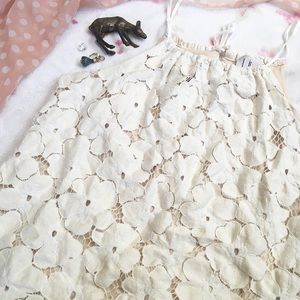 Liv  Tops - Liv Crochet Lace White and Cream Tank Top