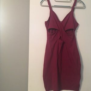 Maroon cutout dress