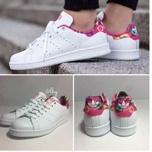ADIDAS ORIGINALS STAN SMITH FLORAL SNEAKERS -7.5