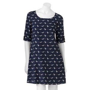 MIDI Navy blue bird dress