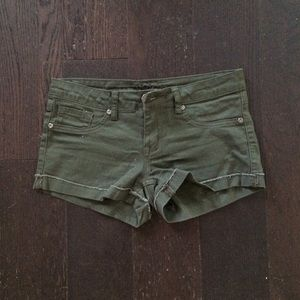 Reign Pants - Reign Olive Green Denim Shorts