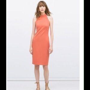 Zara backless halter dress high neck