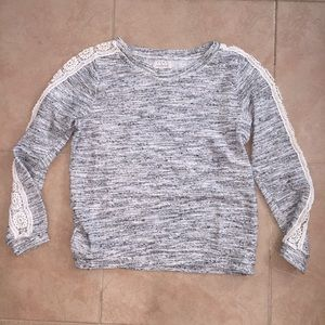 Zara Sweaters - Zara marble & Crochet mixed crew neck sweater. Sm