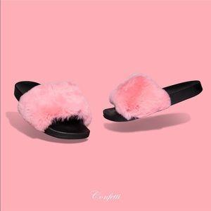f6a9d30c78d0 Confetti Shoes - Fur slides by Duckie Confetti