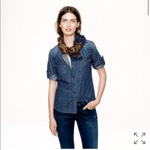 J.Crew Keeper Chambray Shirt in Star Dot Size 4