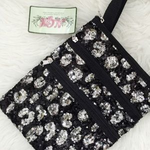 NWT Black & Silver Sequin Shoulder Crossbody Bag
