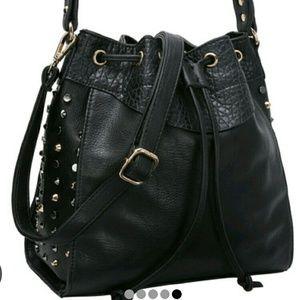 Black Studded PU Shoulder Bag with Drawstring