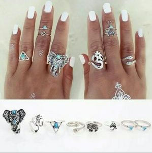 Jewelry - 8 Tribal Antique Silver Rings- Various Sizes- NWB