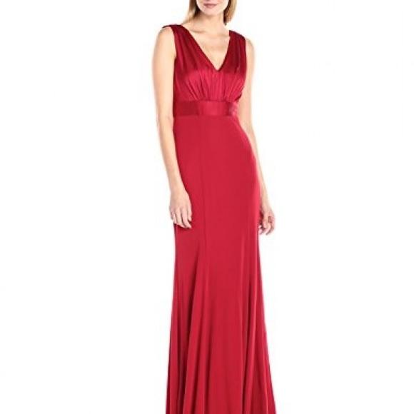 b7965cf841c92 Vera Wang Dresses | Ruched V Neck Gown Red | Poshmark