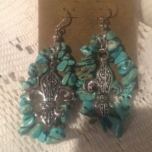 Jewelry - Turquoise longer earrings w/ Fleur De lise