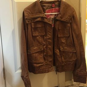 Collection B Jackets & Blazers - Faux brown leather jacket.