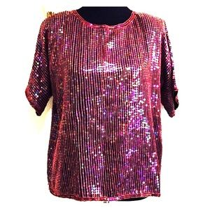 VINTAGE • Hot Pink Sequin Top