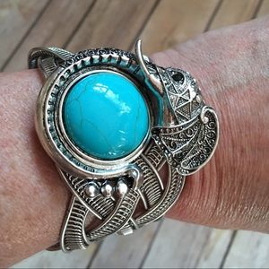 Child of Wild Jewelry - ❤️Adjustable cuff elephant design turquoise silver