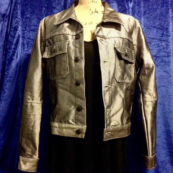 Metallic Silver Denim Jacket