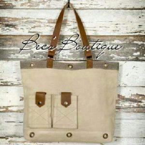 Casual Canvas & Leather Tote
