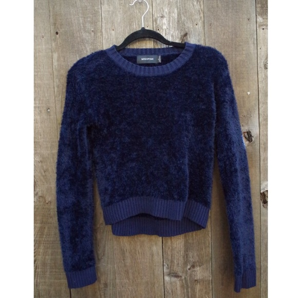 8ef47e57a712e MinkPink Dark Navy Blue Cropped Fuzzy Sweater. M 57c265e42fd0b7402601b30d