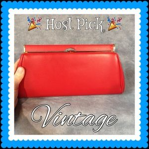 💥 SALE 👜 Vintage Red Leather Clutch