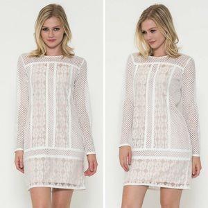 5🌟-Long Sleeve Lace Overlay Dress