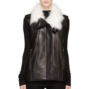 Helmut Lang Leather Vest with Goat Fur Collar