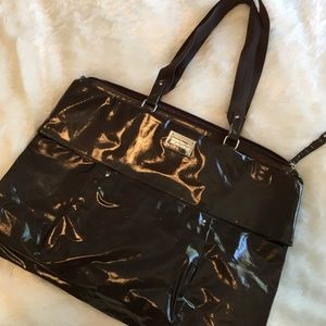 Kenneth Cole Reaction Handbags - Kenneth Cole Chocolate Patent XL Tote Bag