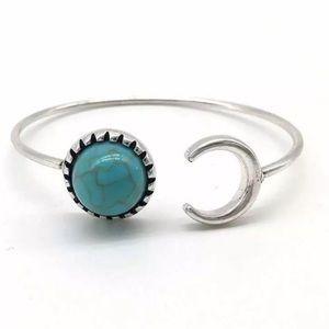Turquoise Boho Moon Cuff