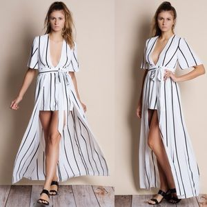 Homage Striped Maxi Romper Dress