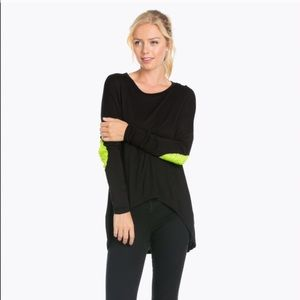 Blossom Apparel Tops - Blossom Apparel Sequin Elbow Patch Solid Top