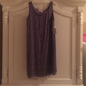 Purple mini dress with Silver beads