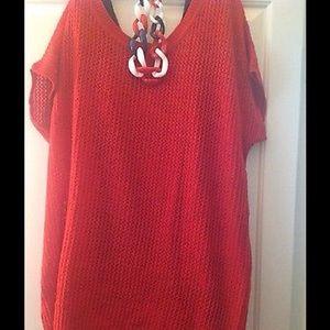 Belle Du Jour Sweaters - 🆕PLuS oVeRSiZeD ReD KNiT SWeaTeR & BLuE TaNK ~ 3X