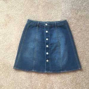 Button front high waisted denim mini skirt size 12