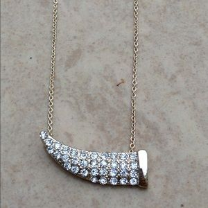 Gold Tone Crystal Sideways Horn Necklace