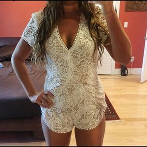 Free People Other - NWOT white lace on beige romper