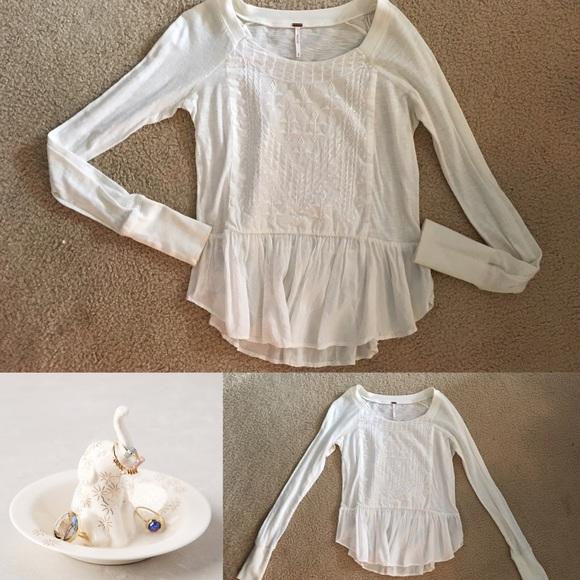 726fc4393039 Free People Tops - Free people cream white peplum long sleeve top