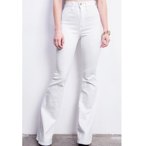 603fe0f9cdf Boho White High Waist Flared Bell Bottom Jeans