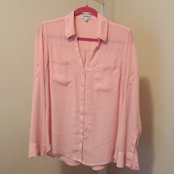 89025429ab68 Express Tops | Light Pink Button Up Shirt | Poshmark