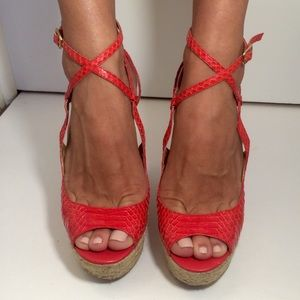 bebe Shoes - Bebe Leather Espadrilles Wedges