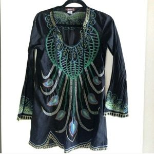 XCVI Tops - Amazing Embroidered Peacock Tunic