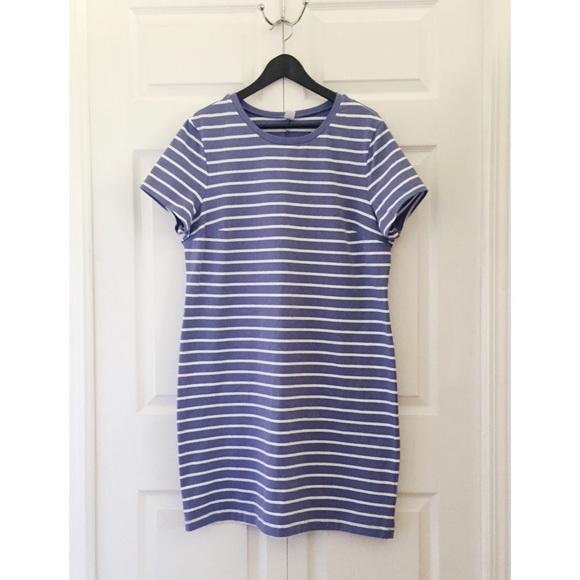 Blue + White Striped T-shirt Dress. M 57c31aa65c12f86efa03a598 5f4b8432291b