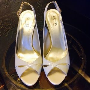 Guess Off white peep toe heels