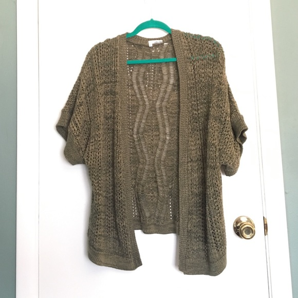 58% off Urban Outfitters Sweaters - Olive Green Short Sleeve Open ...