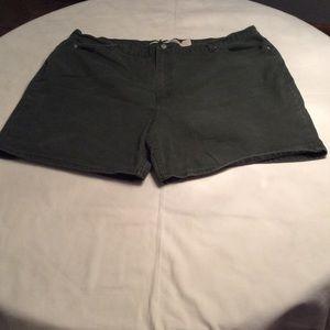 Pants - Army green denim shorts