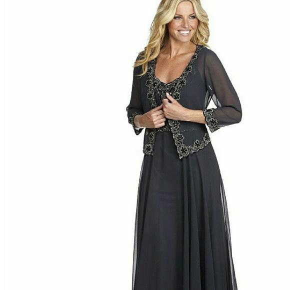 J Kara Dresses | Jkara Beaded Chiffon Jacket Dress | Poshmark