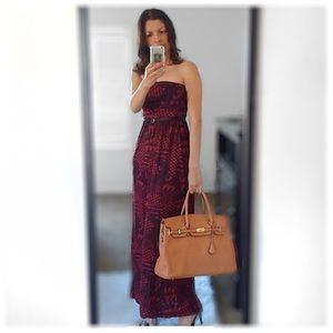 Maxi Tribal strapless dress