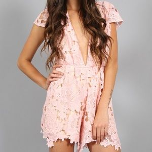 Southern Girl Fashion Pants - LACE ROMPER Floral Scalloped Plunge Neck Jumpsuit