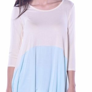 NWT Soft Flowing Sun Sidetail Tunic Baby Blue Top